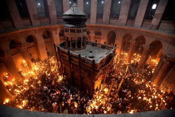 Orthodox Church of the Holy Sepulchre which houses the burial place of Christ.  Consecrated in 335 AD.